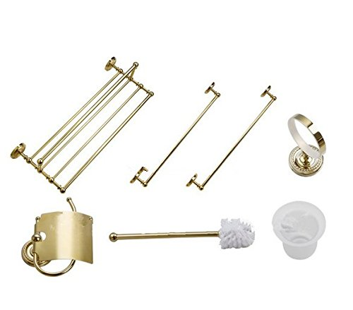 GOWE Luxury European Polished Golden Brass Bath Hardware Towel Rack Toilet Brush Hook Paper Holder Other 5Pcs Set by Gowe (Image #4)