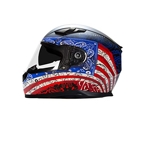 Voss 988 Moto-1 Full Face Helmet America Graphic. Retractable Internal Eyeshade Quick Release DOT/ECE - Medium - Flat Red/White/Blue