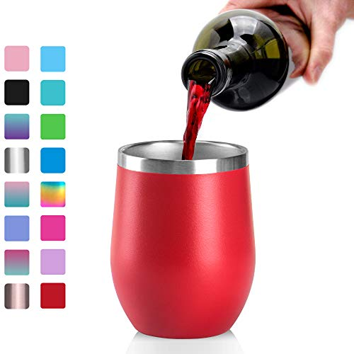 Stainless Steel Wine Glasses Tumbler, Arteesol 12oz Double Insulated Wall Vacuum with Lids Unbreakable Cups - Perfect for Wine,Coffee,Drinks,Champagne,Cocktails (Red)