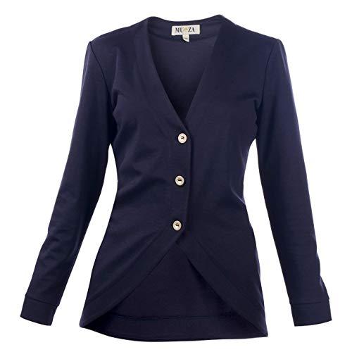 (Womens Jacket - Navy Blue || Stylish -V-Neck Cardigan - Button Up Blazer - Jersey - Jacket for women || Custom Handmade Gift for Wedding Festival Occasion Anniversary Graduation)