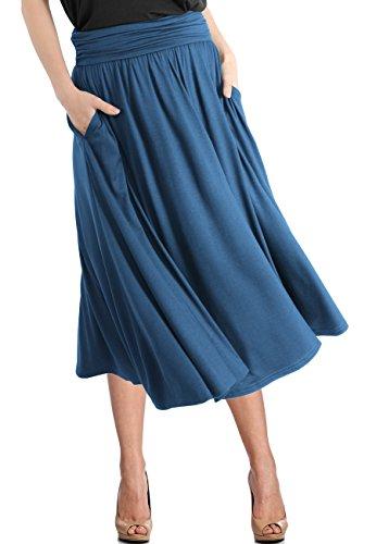 TRENDY UNITED Women's Rayon Spandex High Waist Shirring Flared Pocket Skirt (S0030-TEL, L)