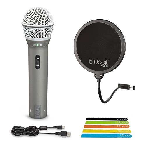 Samson Q2U Handheld Dynamic USB XLR Microphone for Windows, Mac, iPad -INCLUDES- Blucoil Pop Filter AND 5-Pack of Cable Ties by blucoil