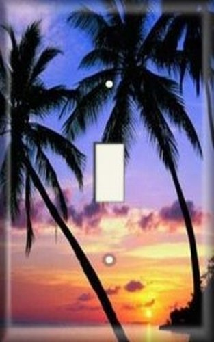 (Decorative Light Switch Plate Cover - Palm Tree Sunset)