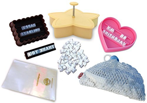 Cookie Imprinter - Customizable Alphabet Cookie Cutters Set with Separate Letter Stamp and Treat Bags - Create Personalized Messages
