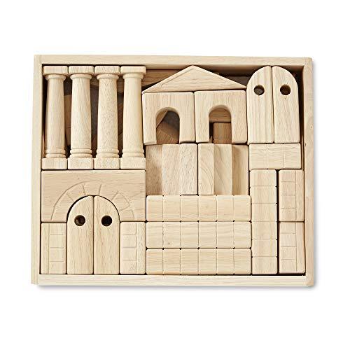 Melissa & Doug Architectural Wooden Unit Block Set With Storage Crate (44 ()