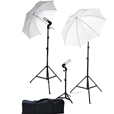 ePhoto Photography Video Portrait Studio Light Kit Photo Umbrella Continuous Lighting Kit with Carrying Case DK3B from Ephotoinc