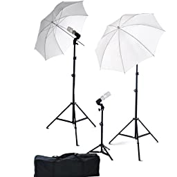 ePhoto Photography Video Portrait Studio Light Kit Photo Umbrella Continuous Lighting Kit with Carrying Case DK3B