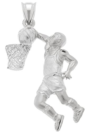 US Jewels And Gems 0.925 Sterling Silver Basketball Player Charm (Male Basketball Player Charm)