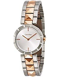 Edge Womens Two Tone Stainless Steel Plated Rose Gold Watch with Metal Band - Ladies 30mm Analog Silver Face - Luxury Swiss Made Quartz Dress Watches For Women K5T33BZ6