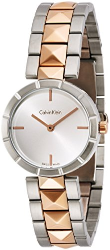 Calvin Klein Edge Womens Two Tone Stainless Steel Plated Rose Gold Watch with Metal Band - Ladies 30mm Analog Silver Face - Luxury Swiss Made Quartz Dress Watches For Women K5T33BZ6 (Womens Watch Luxury Tone Two)