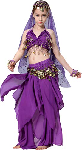 Genie Costume for Kids Girls Top Model Dance 4T 4 5 6 7 8 10 12 14 16 Purple -