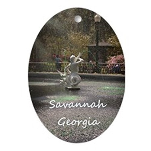 ation Savannah Ga Greening Christmas Ornaments Oval Porcelain Ceramic Keepsake 3 Inches ()