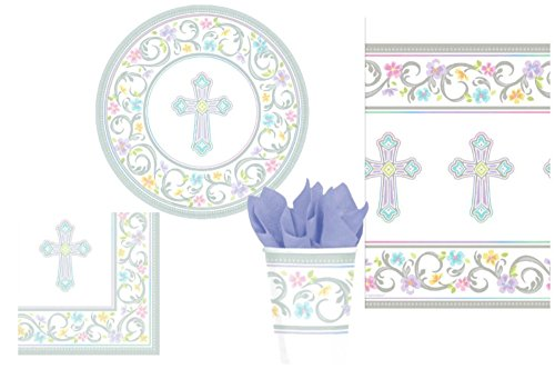 ional Cross Party Supply Pack for 18 Guests: Bundle Includes Dinner Plates, Luncheon Napkins, Cups, and Tablecloth ()