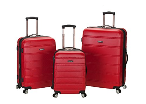 Rockland Luggage Melbourne 3 Piece Abs Luggage Set, Red, Medium by Rockland