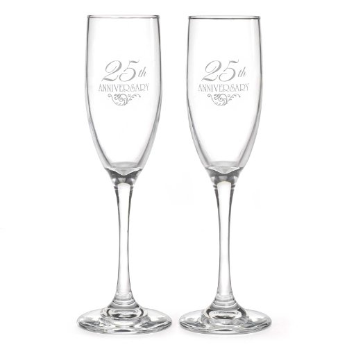 Hortense B. Hewitt Wedding Accessories 25th Anniversary Champagne Toasting Flutes, Set of 2 (25th Anniversary Decorations)