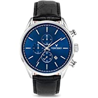 Vincero Luxury Men's Chrono S Wrist Watch — Blue dial with Black Leather Watch Band — 43mm Chronograph Watch — Japanese Quartz Movement