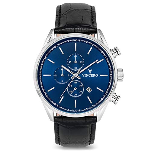 Vincero Luxury Men's Chrono S Wrist Watch — Blue dial with Black Leather Watch Band — 43mm Chronograph Watch — Japanese Quartz Movement (Quartz Movement Japanese Dial)