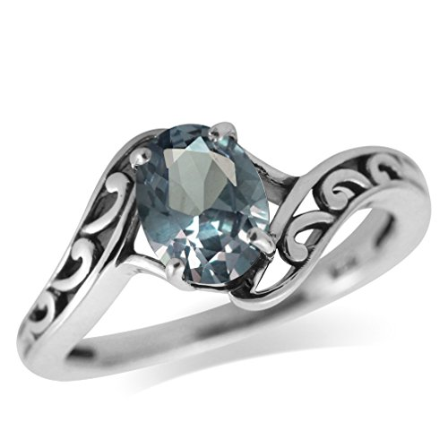 Simulated Alexandrite Ring (Simulated Color Change Alexandrite 925 Sterling Silver Filigree Solitaire Ring Size 5)
