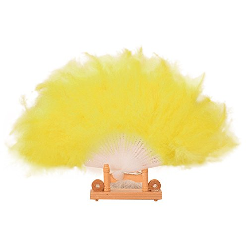 Juesi Roaring 20s Vintage Style Folding Handheld Flapper Marabou Feather Hand Fan for Costume Halloween Dancing Party Tea Party Variety Show (Yellow) -