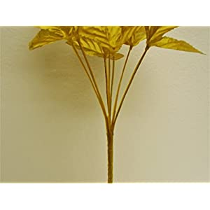 """3 Bushes Gold Open Rose 7 Artificial Silk Flowers 15"""" Bouquet 775GD 4"""
