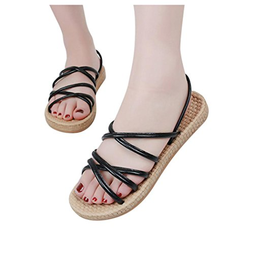 Inkach Womens Flat Sandals - Fashion Bohemia Summer Sandals Casual Straps Loafer Shoes Black kb9fJzKA4