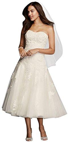 Oleg Cassini Tea Length Wedding Dress with Lace Style CWG743, Ivory, 6