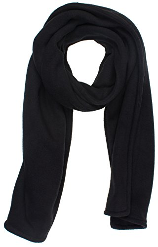 DRY77 Thick Double Layer Long Thermal Soft Fleece Winter Scarf, Black