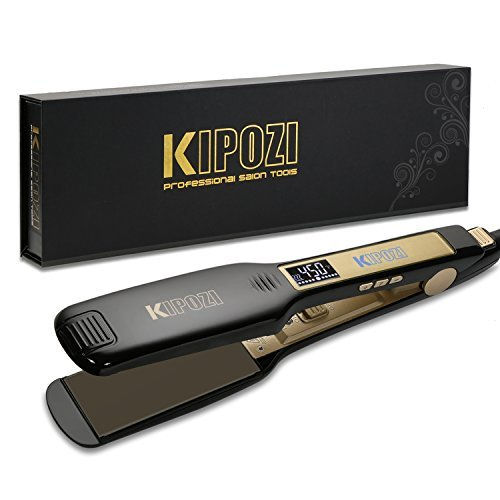 KIPOZI Professional Titanium Flat Iron Hair Straightener with Digital LCD Display, Dual Voltage, Instant Heat Up, 1.75 Inch Wide Black by KIPOZI