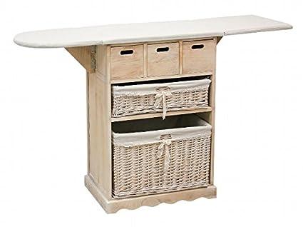 Mueble para planchar mimbre y madera beige: Amazon.es: Hogar