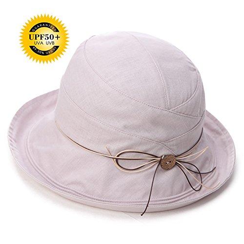 Siggi SPF 50+ Cotton Linen Packable Bucket Sun Hats for Women Wide Brim Sunhat with Chin Cord Summer Gray