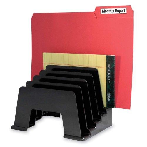 Kantek Incline File Sorter - Kantek Incline File Sorter - 6quot; Height x 8quot; Width x 5.8quot; Depth - 5 Compartment(s) - Black