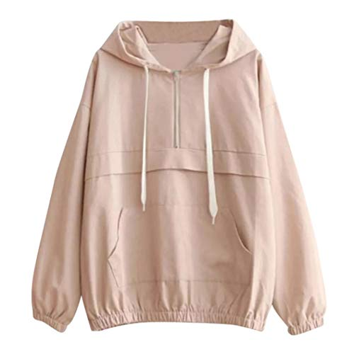 Jaysis Unie Shirt Couleur T Capuche De Grande VTements Manches Zip Top Femme Slim Sweat Rose Poche Femme De Poche Longues rwqzRrCB