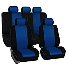 FH Group Universal Fit Full Set Cloth Car Seat Cover with Piping Airbag & Split Ready, (Blue/Black) (FH-FB063115, Fit Most Car, Truck, Suv, or Van)