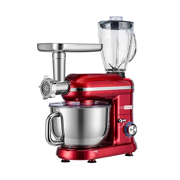 VIVOHOME 3 in 1 Electric 650W Multi-functional 6-Speed Tilt-Head Kitchen Stand Mixer Meat Grinder Juice Blender with 6… 7