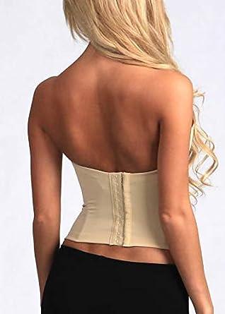 1e44e3d7d8 Amazon.com  32 to 40 Strapless Bridal Seamless Low Back Bustier Corset Push  Up Longline Bra  Clothing