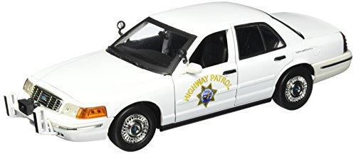 [Motormax 1:18 Ford Crown Victoria California Highway Patrol Car, White] (Police Patrol Car)