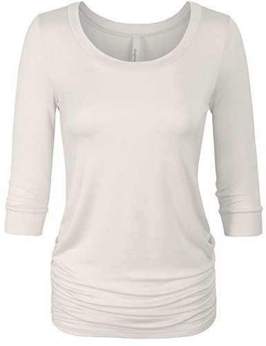 KOGMO Womens 3/4 Sleeve Solid Basic Drape Top Side Shirring Tunic-L-Ivory