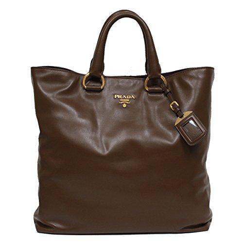 Prada Soft Calf Leather Shopping Tote Bag BN1713, Coffee Brown (Prada Soft Handbag)
