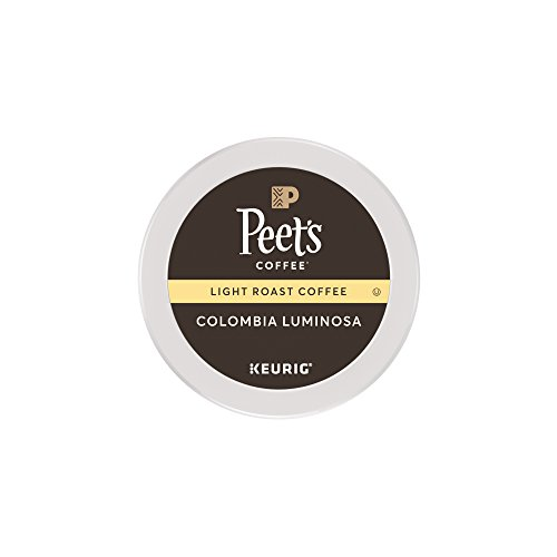 Peet's Coffee K-Cup Pack Colombia Luminosa, Light Roast Coffee, 16 Count Mild, Bright, Smooth Light Roast Blend of Columbia & Ethiopian Coffees, with A Delicate, Hint of Sweetness