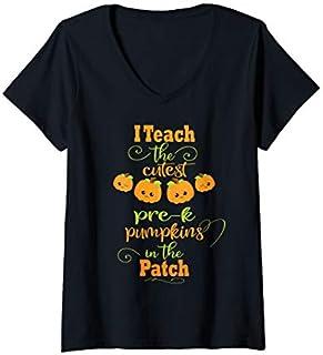 Womens Halloween Cutest Pumpkins Funny Pre-School Teacher Gift V-Neck T-shirt | Size S - 5XL