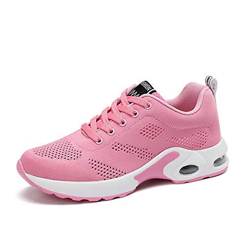ZHZNVX Zapatos de Mujer PU (Poliuretano) Primavera/otoño Suela Ligera Zapatos atléticos Zapatos para Caminar Tacón Plano Punta Redonda con Cordones Púrpura/Rojo / Rosa Pink