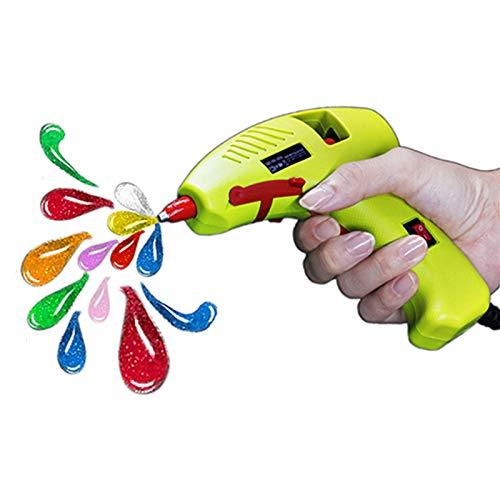 Mini Glue Gun, Craft Hot Melt Low Temp Glue Gun with Fine Tip On Off Switch for Kids Girls Women, Super Hobby Pam Instant Wax Glue Gun, Safety 20 Watt Cute Green Colored for Small Arts & Crafts ()