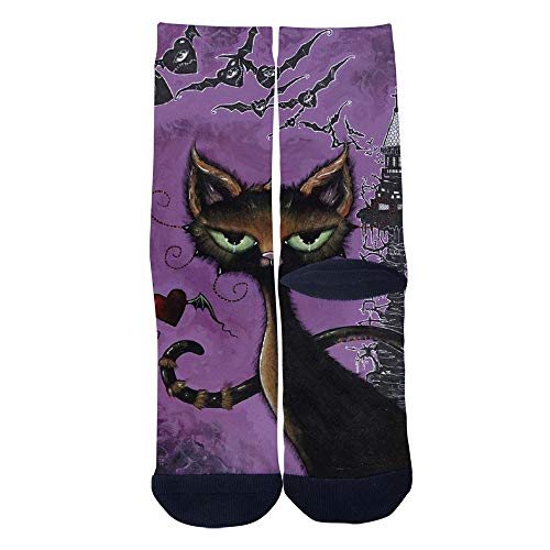 Mens Womens Casual Funny black cat for Halloween Socks Crazy ...
