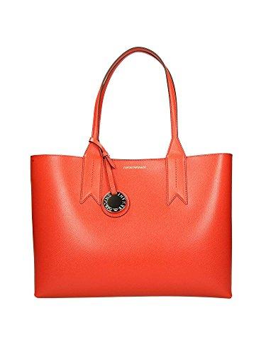 Emporio Armani Logo Shopping Mujer Handbag Negro naranja