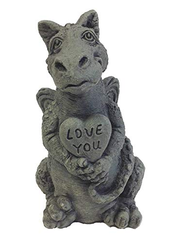 Cheap Little Darling Dragon Baby 'Heart' – Solid Cast Stone Garden Statue – a Great Home or Garden Idea – Durable, Lifelike Sculpture – Fun Exterior and Interior Art