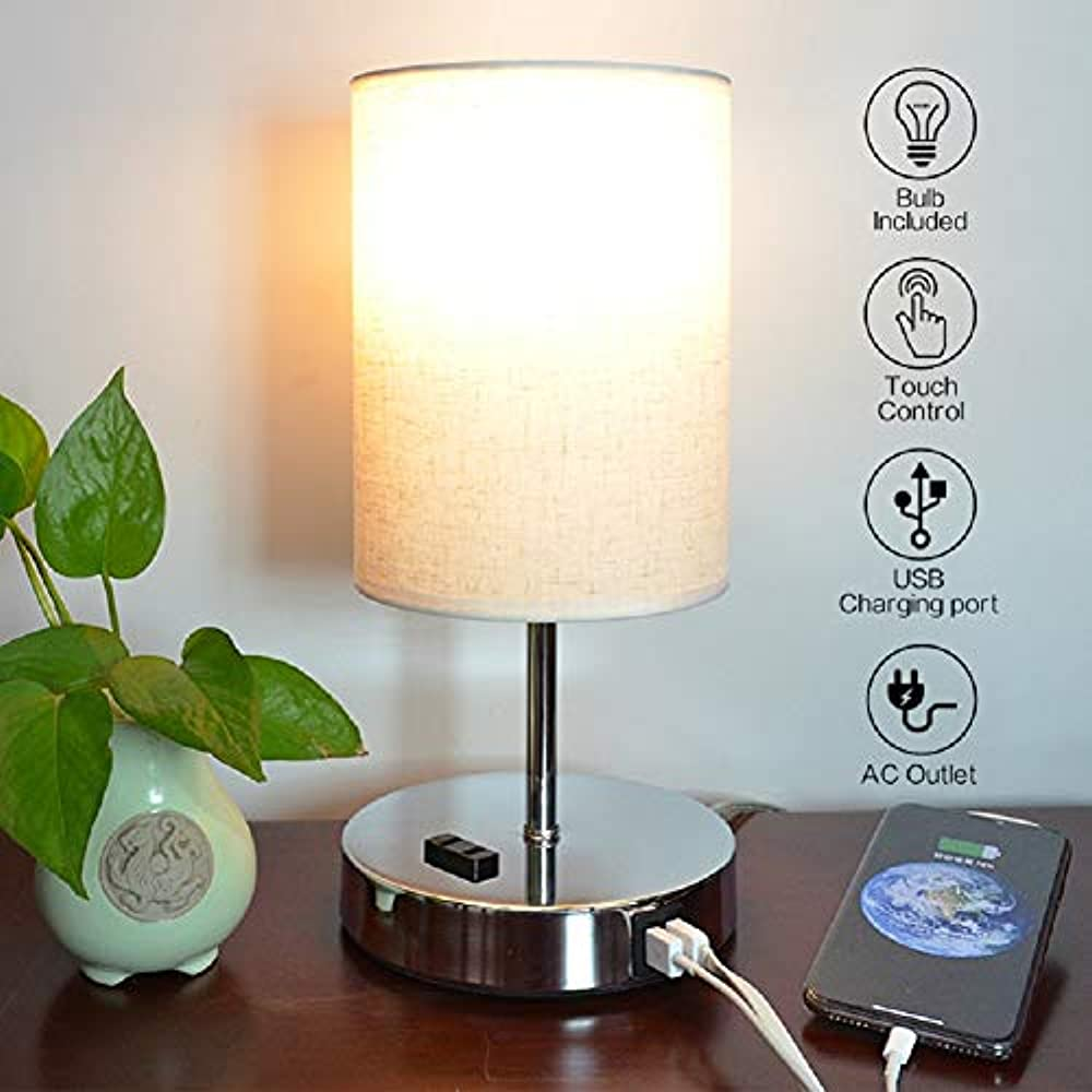 Touch Control Bedside Table Lamp, Nightstand With USB ...