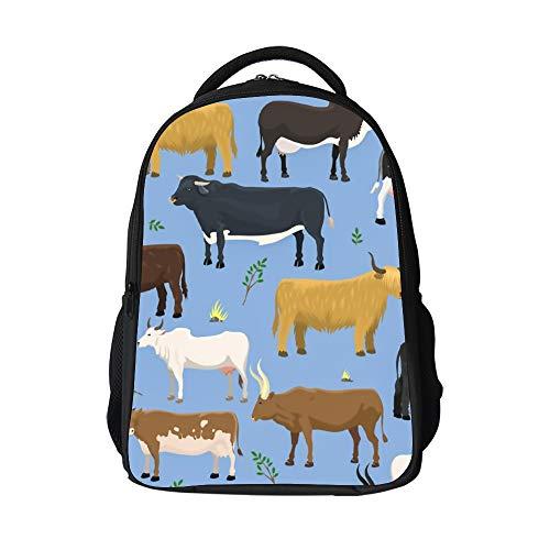 SARA NELL Girls Boys Bulls And Cows Farm Animal Cattle Mammal Backpack for Kids Elementary Middle School Rucksack Bookbag Outdoor Daypack