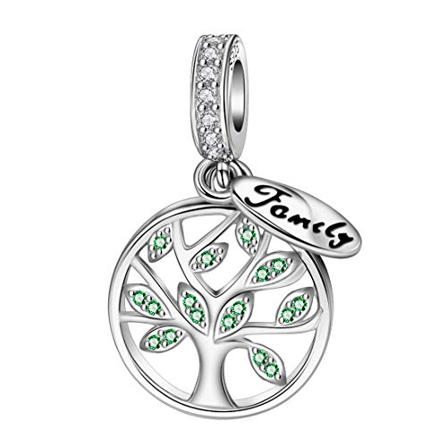 (DALARAN Family Tree of Life Dangle Charm 925 Sterling Silver Charms Bead for European Bracelet Necklace Pendant)