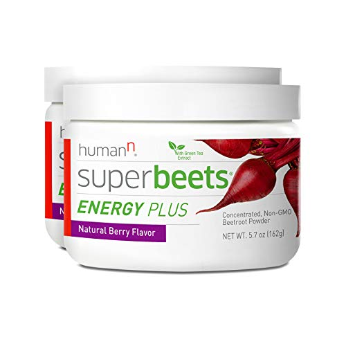 HumanN SuperBeets Energy Plus Superfood Concentrated Non-GMO Beetroot Supplement with Green Tea Extract (Natural Berry Flavor, 5.7-Ounce, 2-Pack)