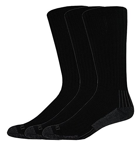 Dickies Industrial Heavyweight Cushion Boot Length Crew, Black, 3 Pair (Mens Sock Boot Heavyweight)